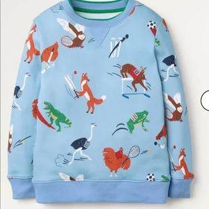 NWT Mini Boden Sporty Animal Sweatshirt 6-7Y